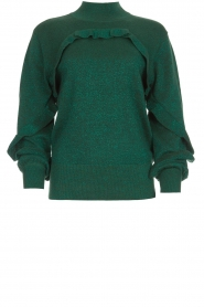 Munthe |  Sweater with ruffles Nailah | green   | Picture 1
