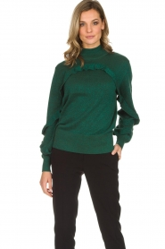 Munthe |  Sweater with ruffles Nailah | green   | Picture 2
