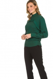 Munthe |  Sweater with ruffles Nailah | green   | Picture 4