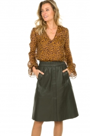 Dante 6 |  Blouse with panther print Sallyn | brown  | Picture 2