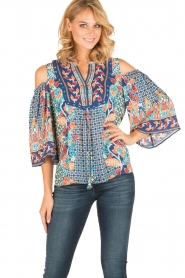 Hale Bob |  Cut-out shoulder top Marielle | blue  | Picture 2