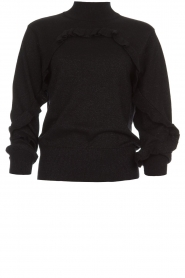 Munthe |  Sweater with ruffles Nailah | black  | Picture 1