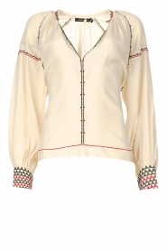 Magali Pascal |  Blouse with embroided details Alexi | natural  | Picture 1
