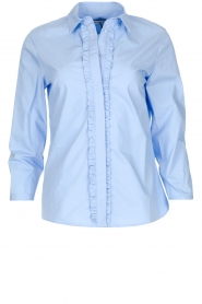 Essentiel Antwerp |  Blouse with ruffles Pyd | light blue  | Picture 1