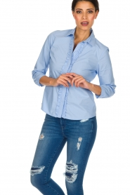 Essentiel Antwerp |  Blouse with ruffles Pyd | light blue  | Picture 2