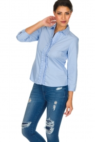 Essentiel Antwerp |  Blouse with ruffles Pyd | light blue  | Picture 4