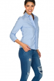 Essentiel Antwerp |  Blouse with ruffles Pyd | light blue  | Picture 5