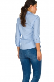 Essentiel Antwerp |  Blouse with ruffles Pyd | light blue  | Picture 6