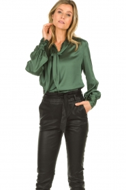 Dante 6 |  Satin pussybow blouse Rodeo | green  | Picture 4