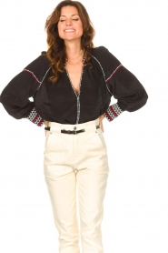 Magali Pascal |  Blouse with embroided details Alexi | black  | Picture 5