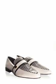 What For |  Striped leather loafers Lucya | black & white  | Picture 5