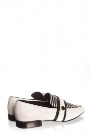 What For |  Striped leather loafers Lucya | black & white  | Picture 6