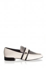 What For | Gestreepte leren loafers Lucya | zwartwit  | Afbeelding 2