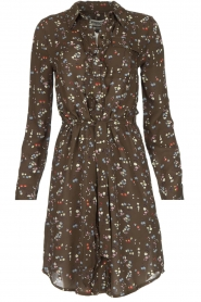 Essentiel Antwerp |  Dress with floral print | olive green  | Picture 1
