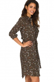 Essentiel Antwerp |  Dress with floral print | olive green  | Picture 6