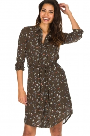 Essentiel Antwerp |  Dress with floral print | olive green  | Picture 4