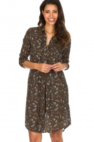 Essentiel Antwerp |  Dress with floral print | olive green  | Picture 2
