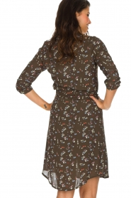 Essentiel Antwerp |  Dress with floral print | olive green  | Picture 7