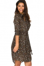 Essentiel Antwerp |  Dress with floral print | olive green  | Picture 5