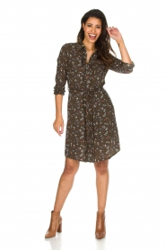 Essentiel Antwerp |  Dress with floral print | olive green  | Picture 3