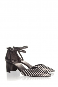 What For |  Leather sandals Florine | black & white  | Picture 3