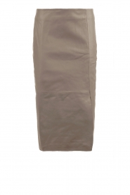 Leahter pencil skirt Benedict | taupe