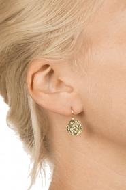 Betty Bogaers | 14k verguld gouden oorbellen Coin star | Goud  | Afbeelding 3