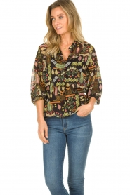 Dante 6 |  Blouse with print Agna | black  | Picture 4
