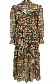 Dante 6 |  Maxi dress with print Valkyrie | black  | Picture 1