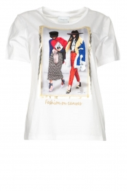 Nenette |  T-shirt with print Dresda | white  | Picture 1