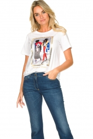 Nenette |  T-shirt with print Dresda | white  | Picture 4