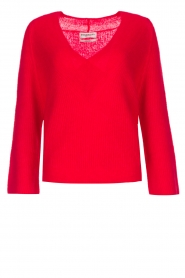 Essentiel Antwerp |  Warm sweater with V-neck Paling | red  | Picture 1