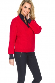 Essentiel Antwerp |  Warm sweater with V-neck Paling | red  | Picture 2