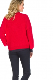 Essentiel Antwerp |  Warm sweater with V-neck Paling | red  | Picture 5