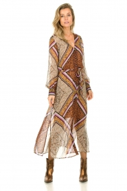 Dante 6 |  Maxi dress with print Arlette | brown  | Picture 2
