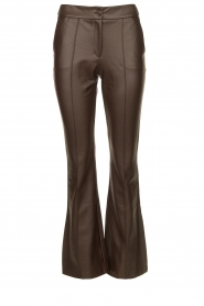 Nenette |  Faux leather flared pants Erica | brown  | Picture 1