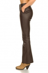 Nenette |  Faux leather flared pants Erica | brown  | Picture 5