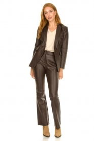 Nenette |  Faux leather flared pants Erica | brown  | Picture 2