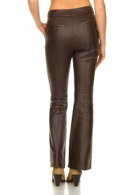 Nenette |  Faux leather flared pants Erica | brown  | Picture 6