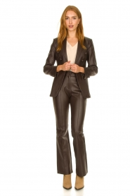Nenette |  Faux leather flared pants Erica | brown  | Picture 3