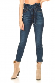7 For All Mankind |  Slim paperbag jeans Soho | dark blue  | Picture 5