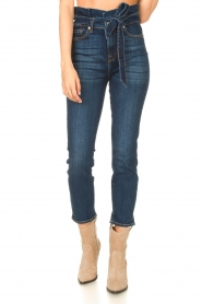 7 For All Mankind |  Slim paperbag jeans Soho | dark blue  | Picture 4