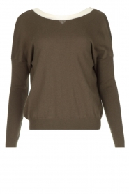 Essentiel Antwerp |  Sweater with V-back Papaya | dark green   | Picture 1
