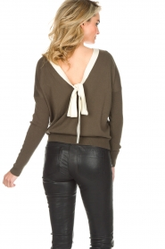 Essentiel Antwerp |  Sweater with V-back Papaya | dark green   | Picture 5