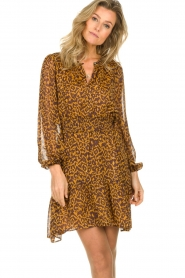 Dante 6 |  Dress with panther print Okala | brown  | Picture 4