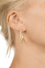 Betty Bogaers | 14k verguld gouden oorringen Feather Hoop | Goud  | Afbeelding 3