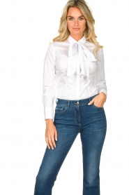 Nenette |  Blouse with bow detail Fama | white  | Picture 2