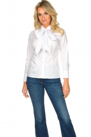 Nenette |  Blouse with bow detail Fama | white  | Picture 4