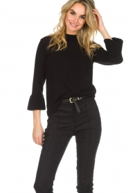 Set |  Sweater with pleated trumpet sleeves Lies | black  | Picture 4