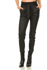 Dante 6 |  Leather paperbag pants Duran | black  | Picture 4